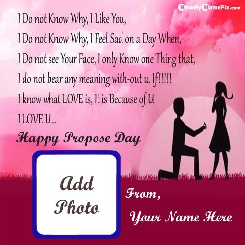Happy Propose Day Wishes My Name & Photo Add Greeting Card Send
