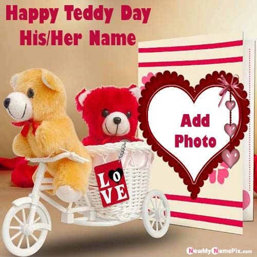 Romantic Happy Teddy Bear Day Lover Name With Photo Frame