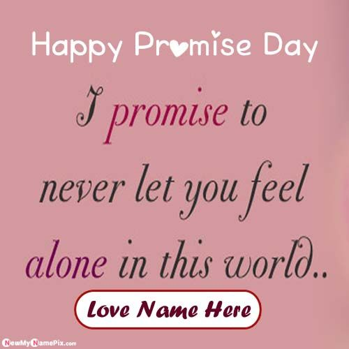 Online Happy Promise Day English Message Picture On Name Write Card