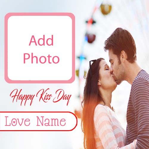 Make Your Name With Photo Card Cute Kiss Day Images