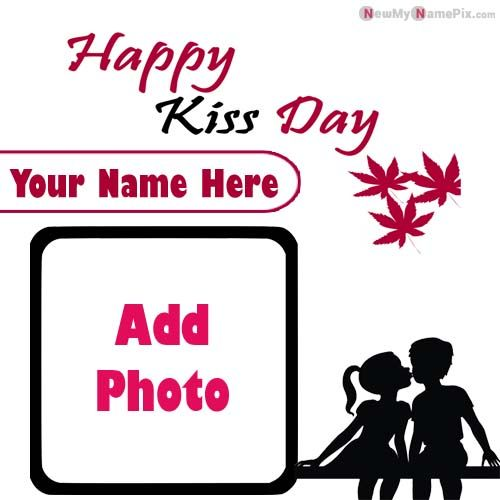 Photo Frame Happy Kiss Day Wishes With Name Edit