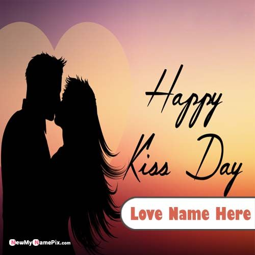 Happy Kiss Day Greeting Card With Your Name Pictures