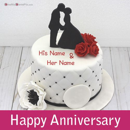 Happy anniversary cake with couple name wishes images create