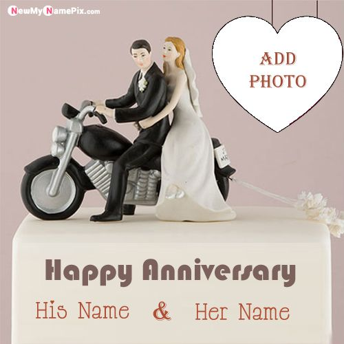 Anniversary photo frame cake wishes romantic couple name wishes images