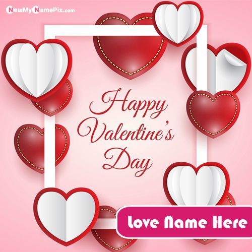 Romantic Valentines Day Greeting Card With Name Pictures