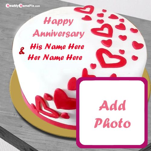 Anniversary cake images with couple name and photo wishes profile