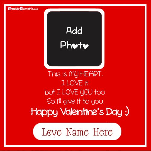 Happy Valentine Day Quotes Wishes For Lover Name & Photo Card
