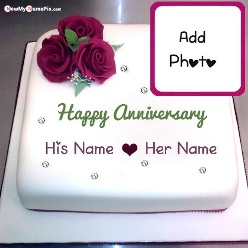 Write Your Name With Photo On Anniversary Wishes Cake Pictures Create Online