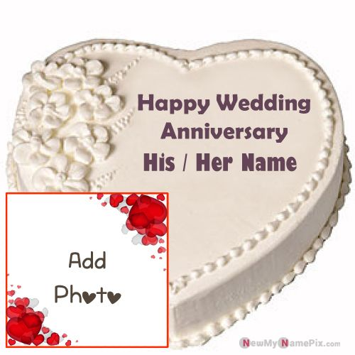 Name & photo frame romantic wedding anniversary cake wishes images