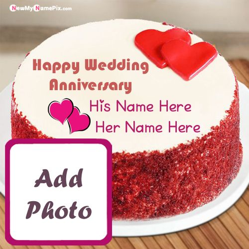 Special Couple Name Happy Wedding Anniversary Cake Wishes Photo Frame Edit