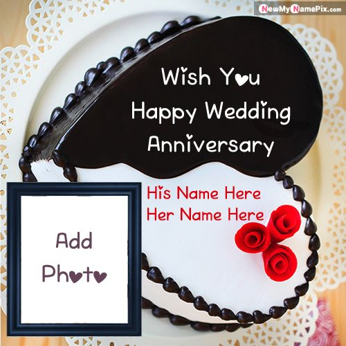 Latest happy wedding anniversary cake with name and photo frame create