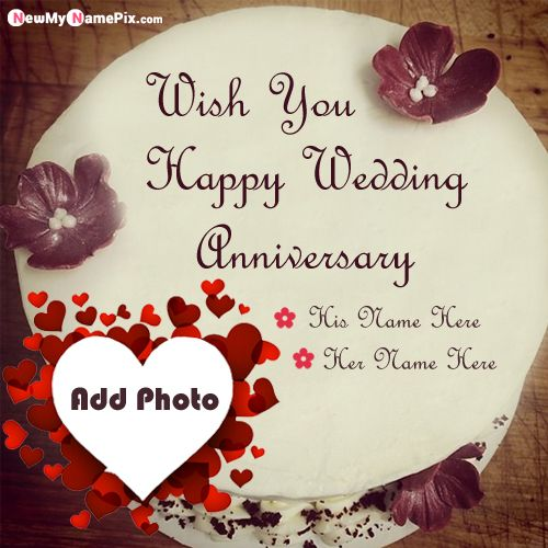 Fabulous wedding anniversary cake on name & photo add pictures