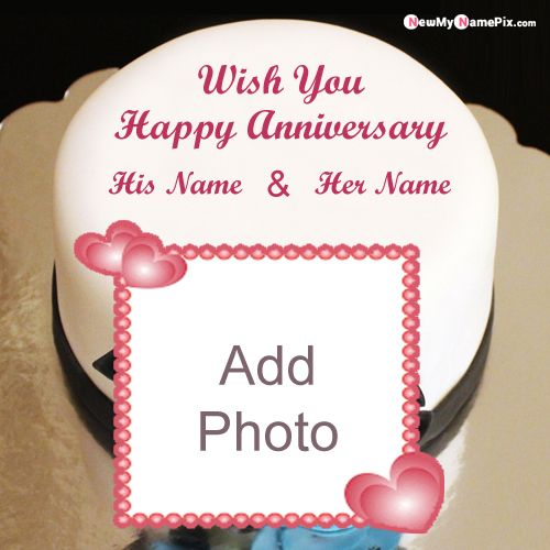 Personalized anniversary cake on name & photo wishes pic online edit