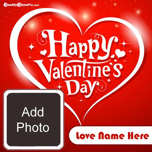 Design Photo Frame With Name Wishes Valentine Day Picture Editor