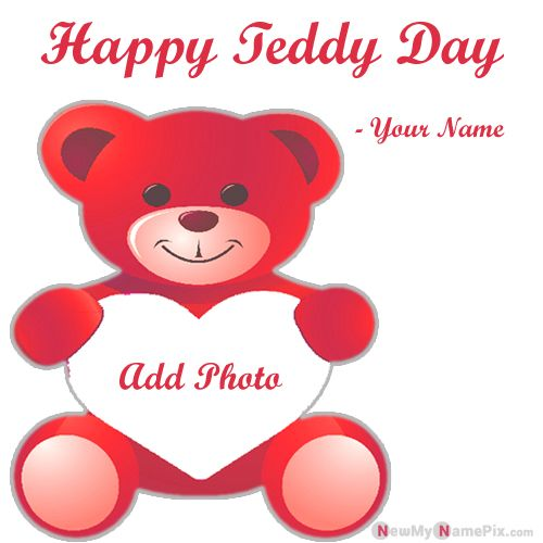 Online Name Photo Frame Happy Teddy Day Greeting Card