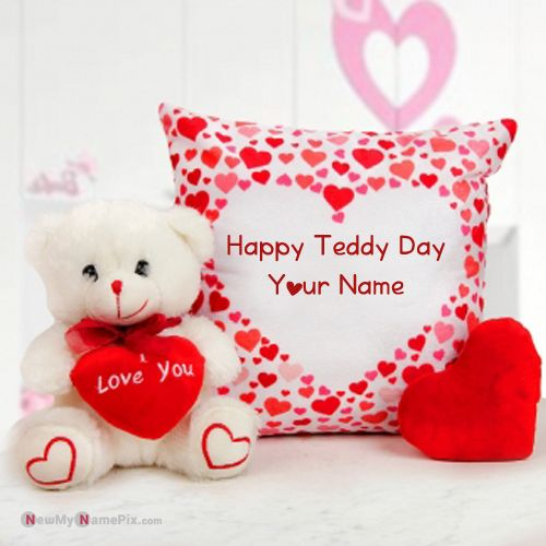 Personalized Wife Name Photo Happy Teddy Day Wishes Images