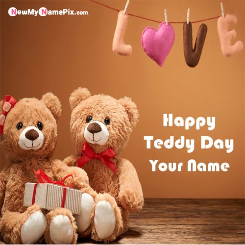 Write Girlfriend Name On Happy Teddy Day Wishes Images