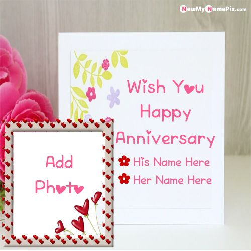 Online best name with photo frame anniversary wishes card pictures