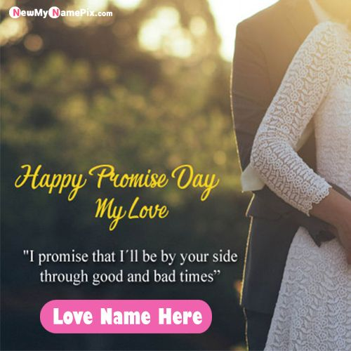 Online Happy Promise Day Picture On Name Writing Cards