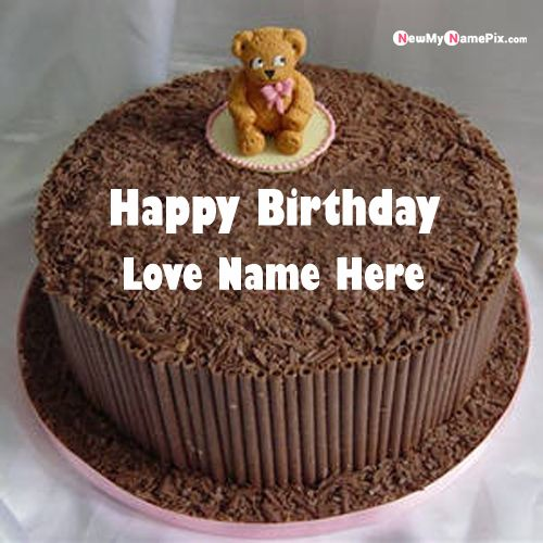 Write name on teddy happy birthday cake pictures send online