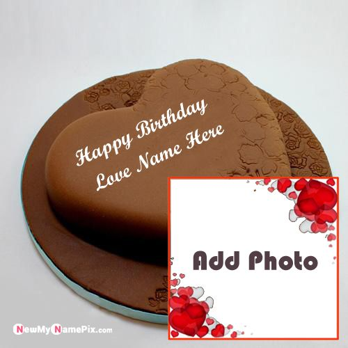 Special love photo add birthday cake image creating online