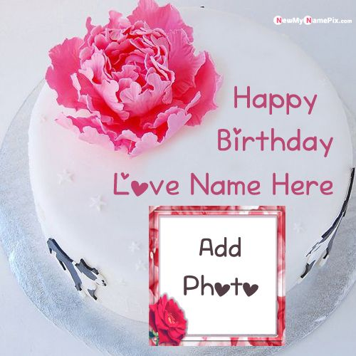 Surprising Rose Birthday Cake With Love Name Photo Frame Images Funny Birthday Cards Online Overcheapnameinfo