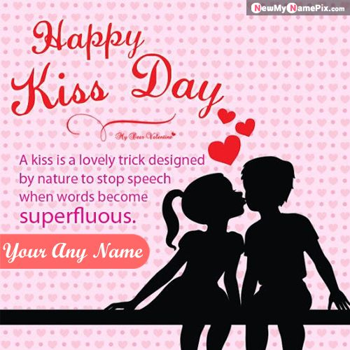 Happy Kiss Day Greeting With Name Wishes Images Edit Online