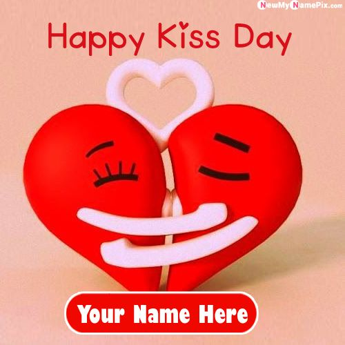 Nice Cute Couple Kiss Day Special Name Photo Create
