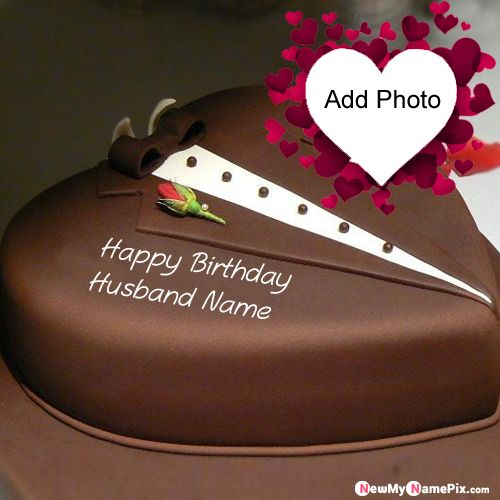 Happy Birthday Chocolate Cake With Husband Name Photo Create