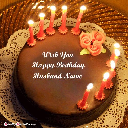 Candles birthday cake for husband wishes images with name photo