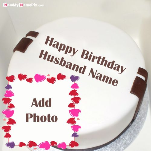 Romantic birthday cake images with husband name photo
