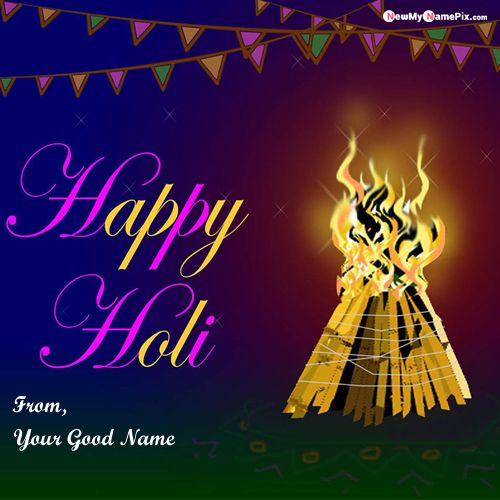 Online My Name Picture Happy Holi Greeting Card Editing