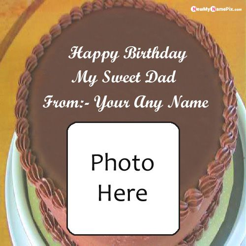 Chocolate birthday cake for sweet day photo frame with your name