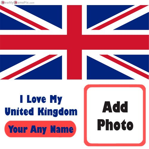 United Kingdom Love My Country Flag Profile Image With Name Photo