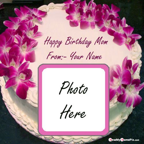 Beautiful happy birthday cake for mother photo create frame