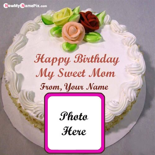 Fine Beautiful Birthday Cake For Mother Name And Photo Wishes Images Personalised Birthday Cards Bromeletsinfo