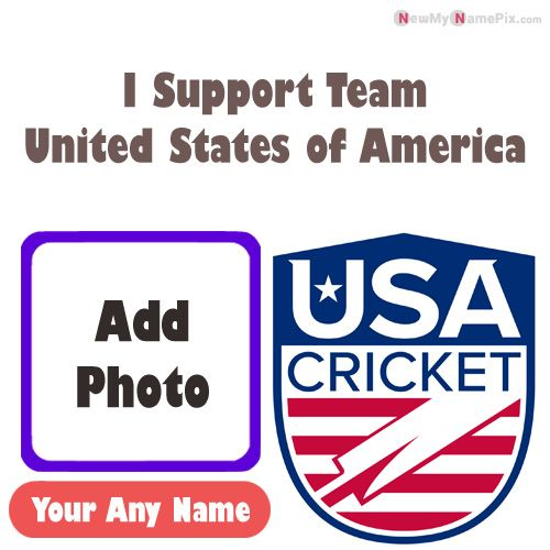 I Support USA Cricket Team Love Profile With Name And Photo Frame