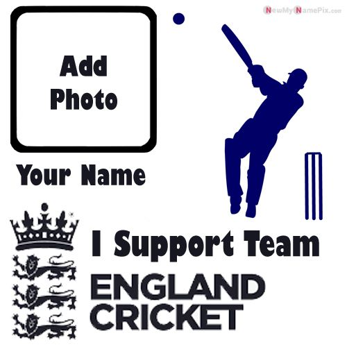 I Support England Cricket Team Love Profile With Name And Photo Frame