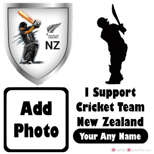 I Support New Zealand Cricket Team Love Profile With Name And Photo Frame