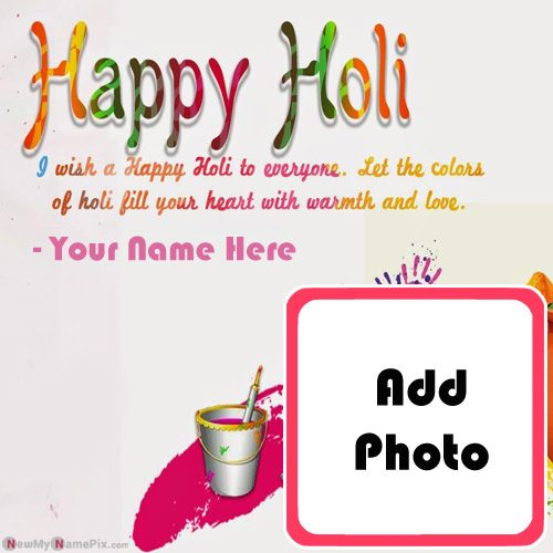 Make Photo Frame Holi Greeting Picture With Name Edit