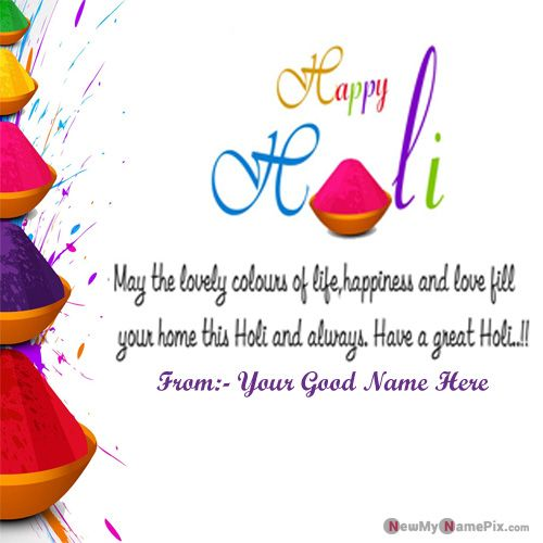 Holi Colorful Images Greetings With Name Write Wishes