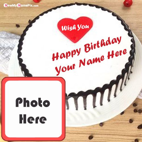 White birthday cake with name photo frame profile wishes picture create online