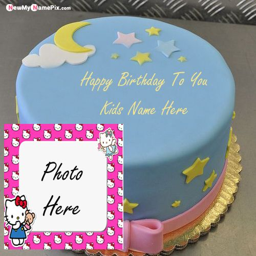 Kids birthday cake wishes images with personalized name photo frame