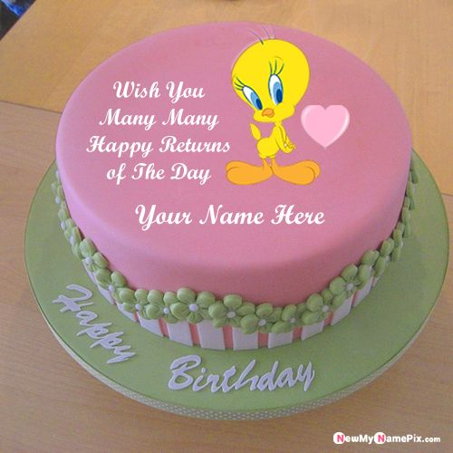 Tweety cute birthday cake for kids name writing wishes profile pictures