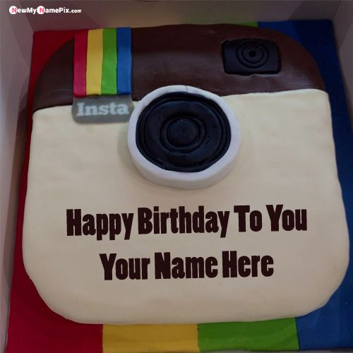 Instagram birthday cake with name wishes image create online