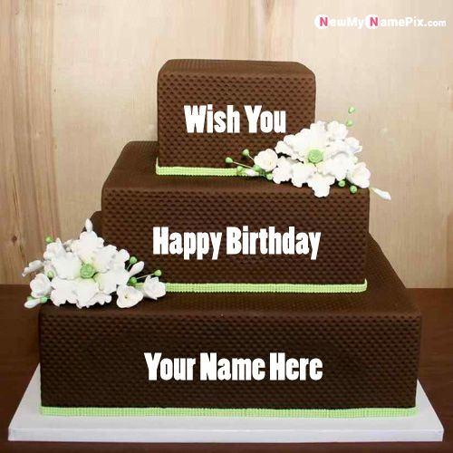 Chocolate happy birthday layer cake with name wishes images download