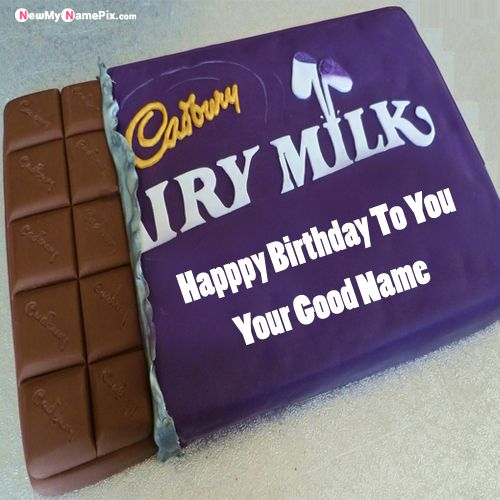 Sweet dairy milk birthday cake celebration with name wishes pictures