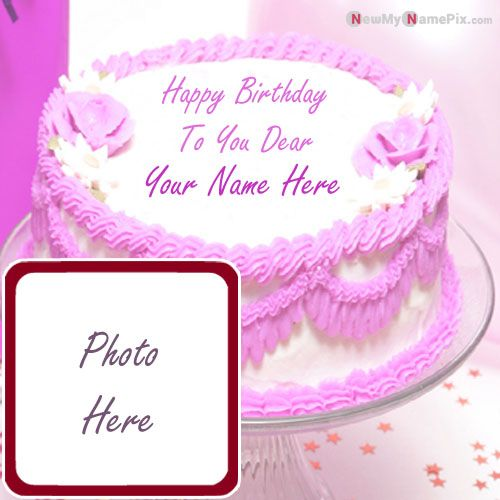 Happy birthday dearest wishes cake images with name and photo frame