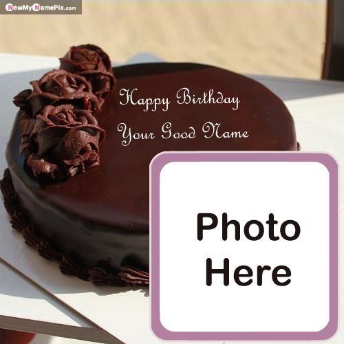 Name with photo birthday chocolate cake wishes images creator