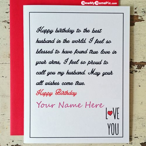 Birthday wishes greeting card for husband name photo frame create